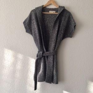 Michael Kors Short Sleeve Hooded Cardigan
